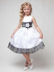 CLEARANCE - White  Dress w/ Flower & Black Lace Detailing