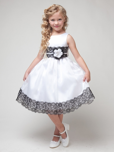 White  Dress w/ Flower & Black Lace Detailing