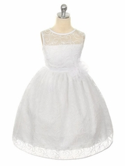 White Dress w/ White Overlay Lace