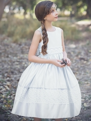 CLEARANCE - White Dull Satin Luxurious Dress w/ Lace