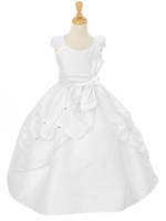 White Dupioni Communion Dress w/ Rhinestone Pinched Front Split Skirt & Detachable Sash