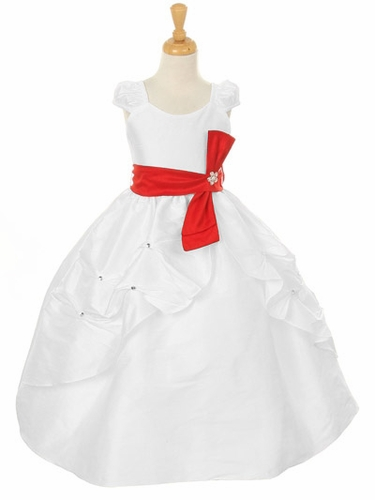 White Dupioni Dress w/ Rhinestone Pinched Front Split Skirt & Detachable Sash