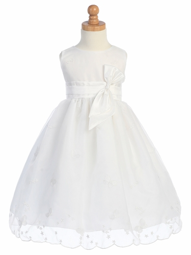 White Embroidered Butterfly Organza Dress w/Taffeta Waistband