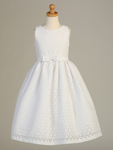 White Embroidered Cotton Communion Dress