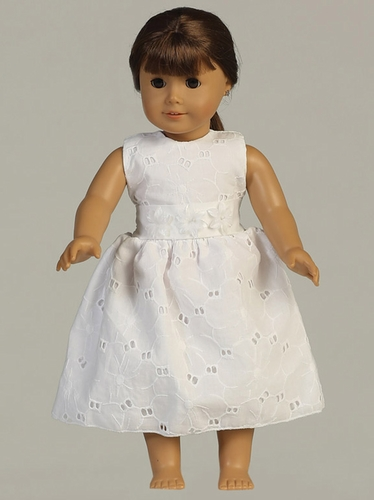 White Embroidered Cotton Doll Dress w/ Flower Cummerbund