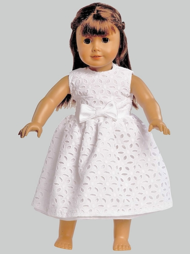 White Embroidered Cotton Dress for 18'' Doll