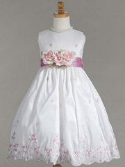White Embroidered Crinkled Taffeta Dress