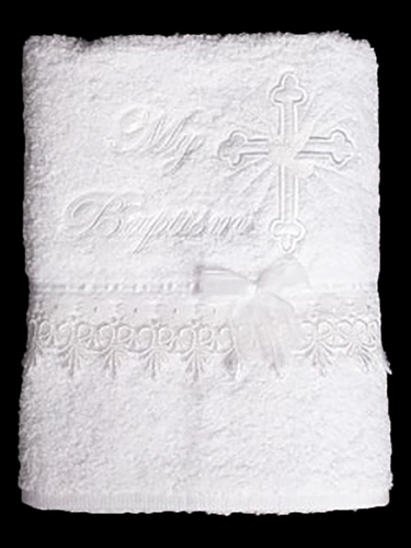 White Embroidered Cross Christening Towel