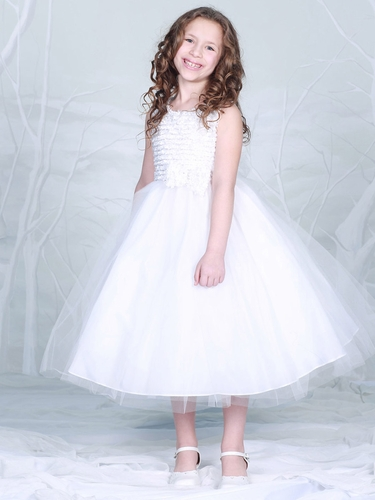 White Embroidered Mesh Bodice w/ Tulle Dress
