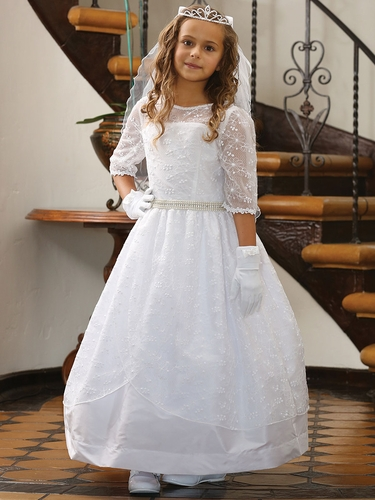 White Embroidered Mesh Over Taffeta Dress w/ ¾ Lace Trim Sleeves