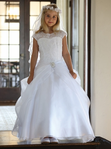 White Embroidered Mesh Overlay Bodice w/ Gathered Organza Skirt