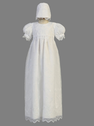 White Embroidered Organza Christening Heirloom Gown