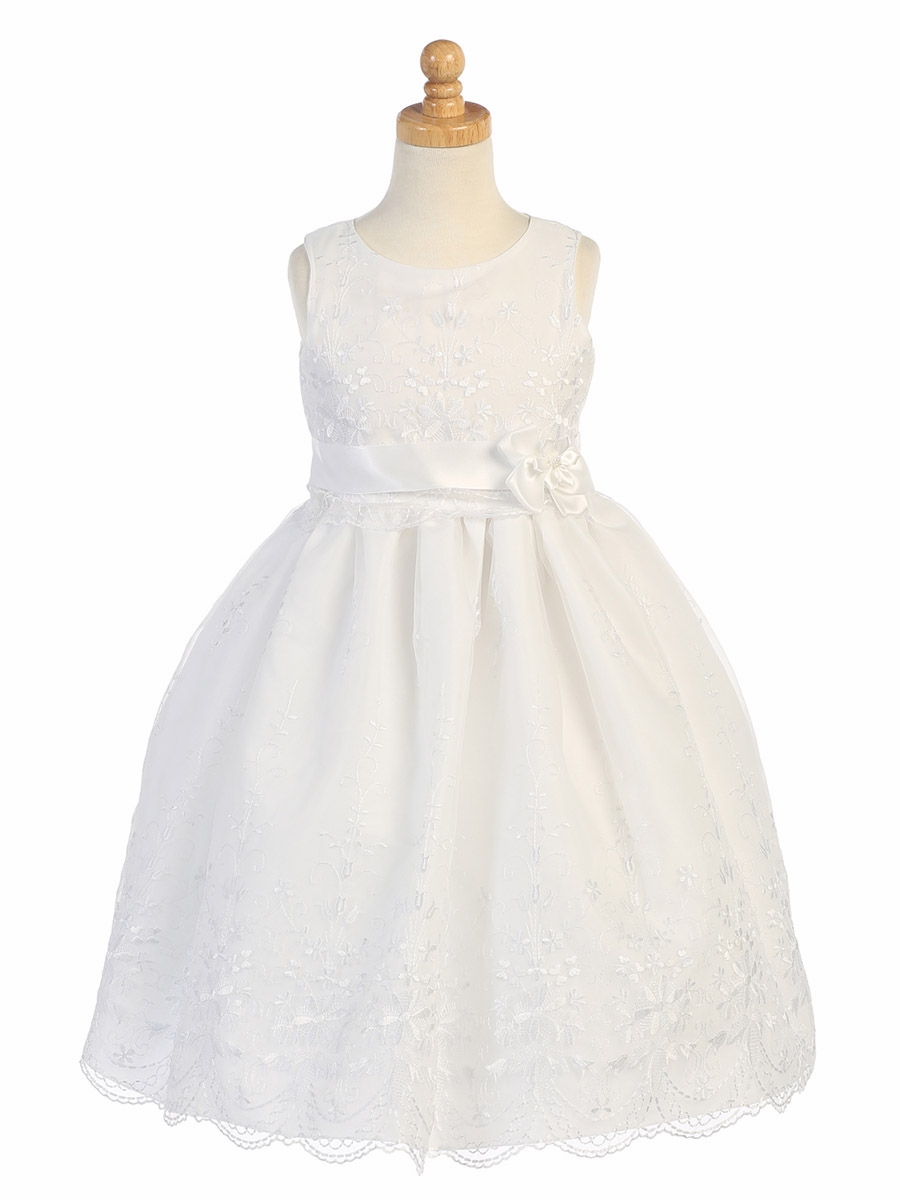 White Embroidered Organza Communion Dress W Ribbon