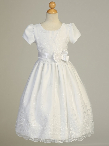 White Embroidered Organza Communion Dress w/ Ribbon & Sleeves