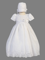 White Embroidered Organza Dress