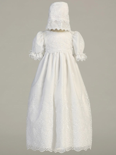 White Embroidered Organza Gown