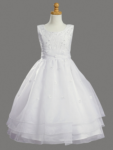 White Embroidered Organza & Pearled Bodice First Communion Dress