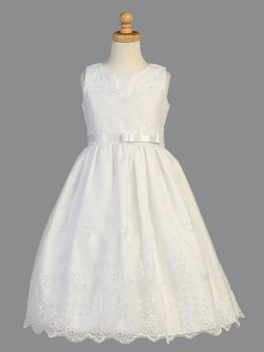 Swea Pea & Lilli SP150 White Embroidered Organza Satin Ribbon Dress w/ Rhinestone Belt