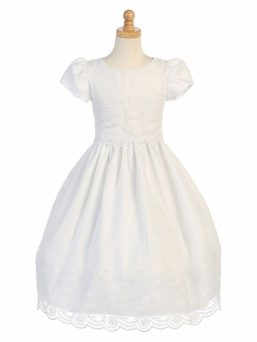 White Embroidered Organza Tea Length Dress