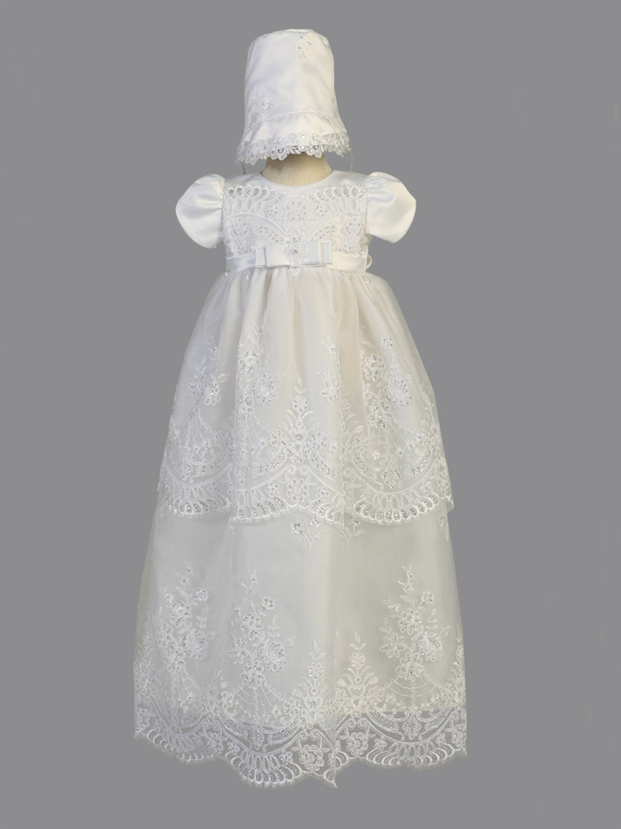 White Embroidered Organza w/ Sequins Long Christening Gown