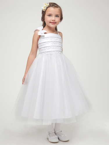White Embroidered Satin Layered Top w/Tulle Skirt Dress