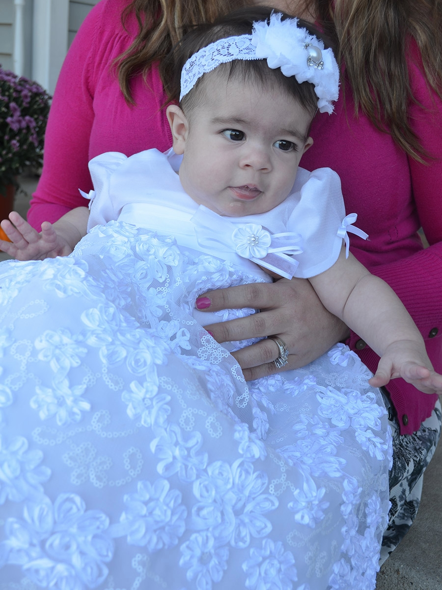 Baby Girls Flower Embroidered Satin Ribbon Tulle Christening Dress With Hat