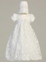 White Embroidered Satin Ribbon Tulle Dress