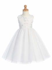 White Embroidered Tulle Bodice w/Tulle Skirt