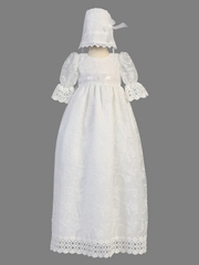 White Embroidered Tulle Christening Gown