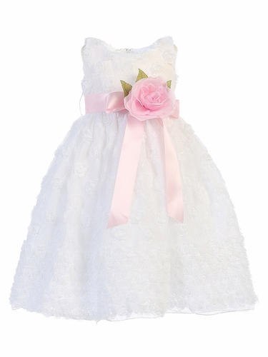 Blossom White Rosette Embroidered Tulle Dress w/ Detachable Flower & Sash
