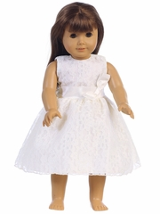 "White Embroidered Tulle Dress w/ Bow 18"" Doll Dress"