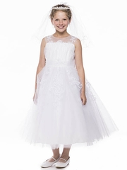 White Embroidered Tulle Dress w/ Illusion Neckline