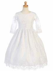 White Embroidered Tulle 3/4 Sleeve Dress