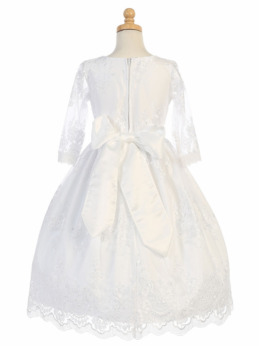 White Embroidered Tulle ¾ Sleeve Dress