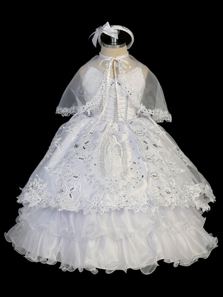 ce2a7a24a9e ... White Embroidered Virgin Mary 2 Piece Baptism Dress w  Tail. Click to  Enlarge