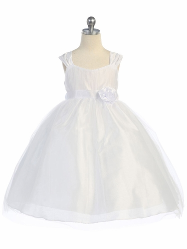 White Empire Waist Tulle Dress w/ Poly Silk Sleeve & Sash
