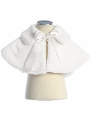 White Faux Fur Collared Cape w/ Ribbon Tie