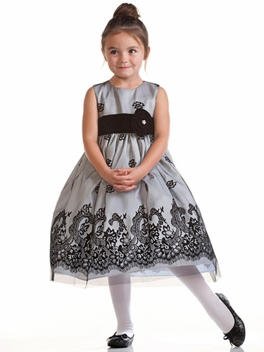 White Flocked Taffeta Dress w/ Tulle Overlay