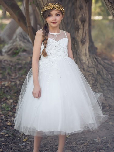 White Floral Beaded Tulle Dress