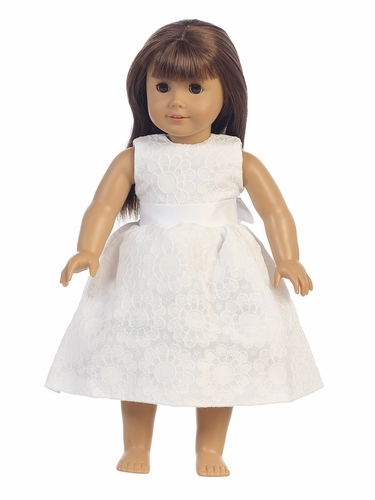 "White Floral Jacquard 18"" Doll Dress"