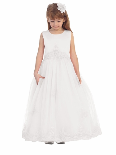 White Floral Lace Soft Tulle Girl Dress