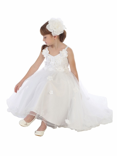 CLEARANCE - White Floral & Lace Tulle Dress w/ Bolero