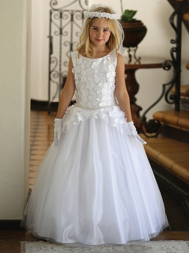 CLEARANCE - White Floral Mesh Overlay w/ Pearly Beaded Waistband Communion Dress