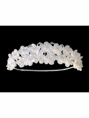 White Floral & Pearl Head Wreath