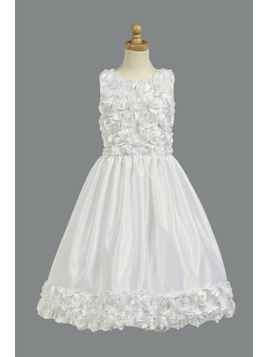 White Floral Ribboned Bodice w/ Satin Skirt