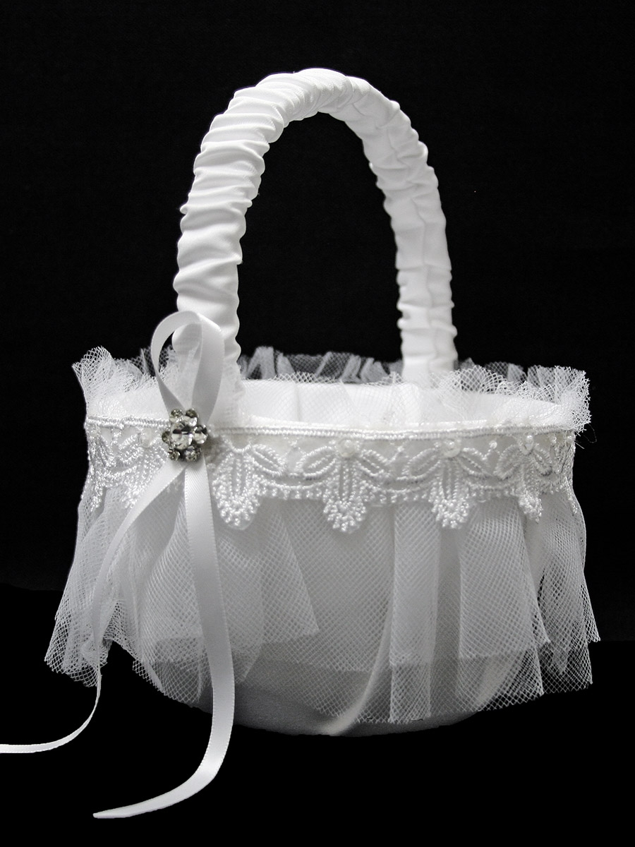 White Flower Girl Basket W Lace