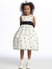 White Flower Girl Dress - Black Polka Dot Embroidered Taffeta
