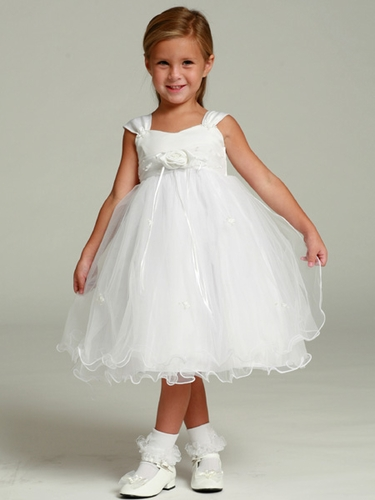 White Flower Girl Dress - Matte Satin Bodice Rose Bud
