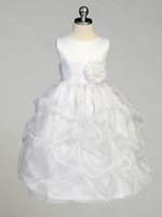 White Flower Girl Dress - Matte Satin Bodice w/ Gathers