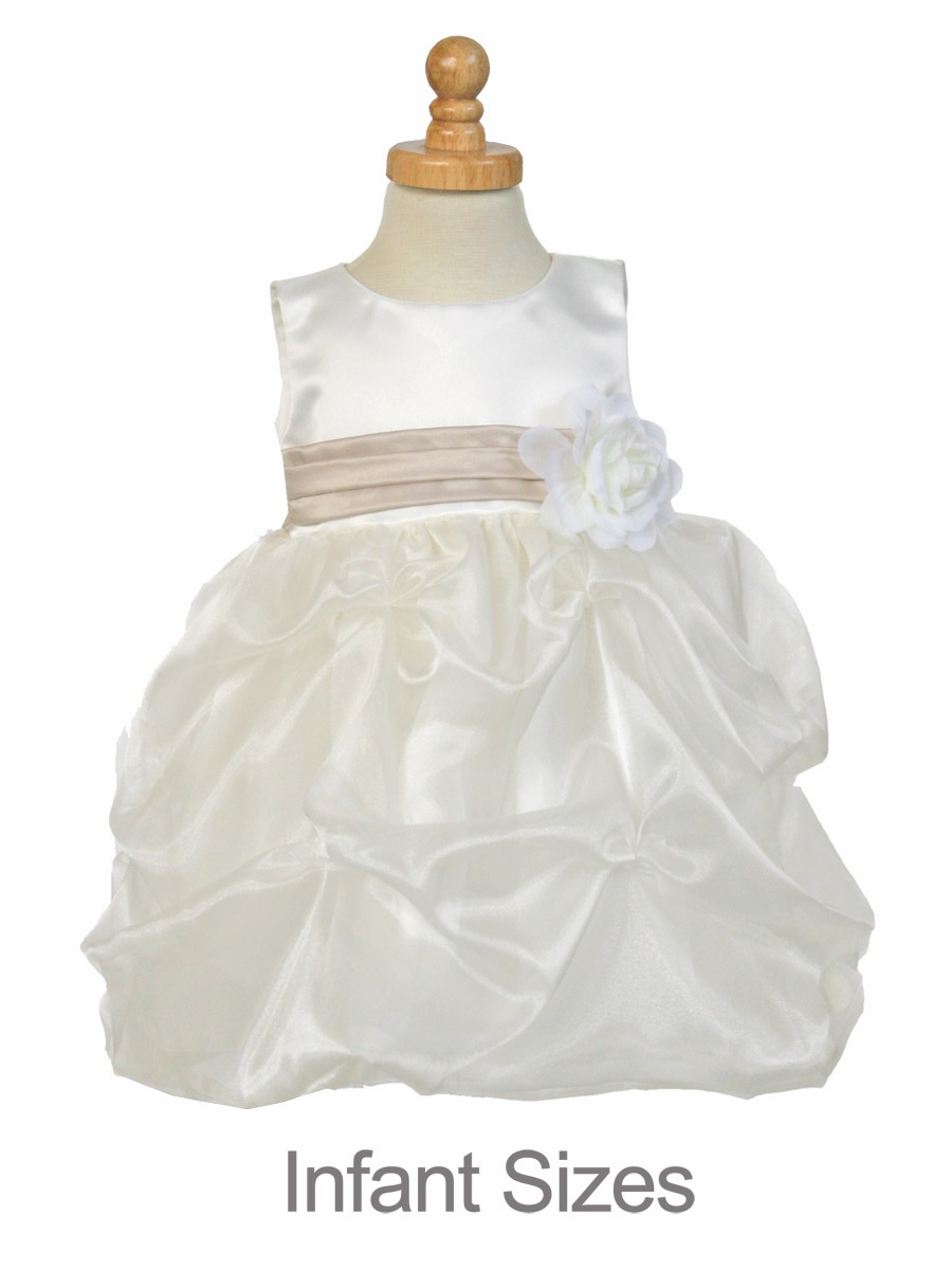 Hvid blomsterpigekjole - Mat Satin Bodice W Collect-2294